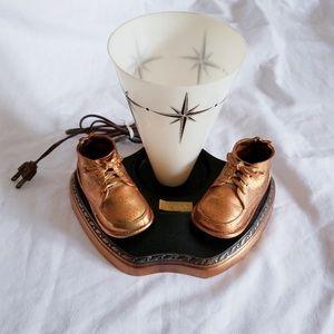 Vintage Bronze Baby Shoe Lamp Accents